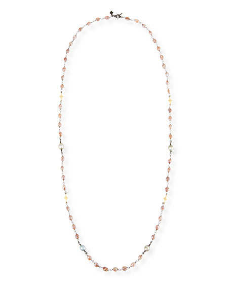 Armenta Old World Beaded Peach Moonstone Necklace with