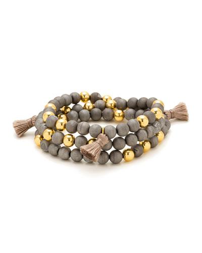Hannah Druzy Tassel Wrap Bracelet, Gray/Golden
