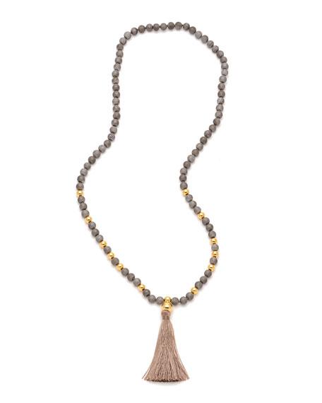 Hannah Beaded Druzy Tassel Necklace, Gray/Golden