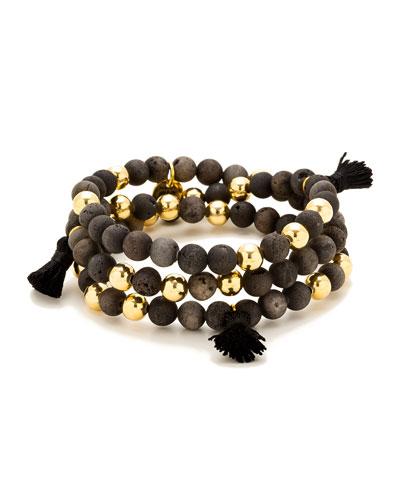 Hannah Druzy Tassel Wrap Bracelet, Black/Golden