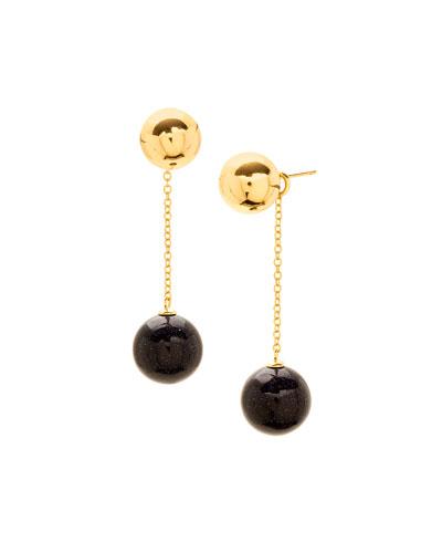 Newport Blue Sandstone Double-Drop Earrings