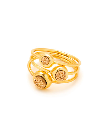 Astoria Ring Set, Yellow-Golden, Size 7