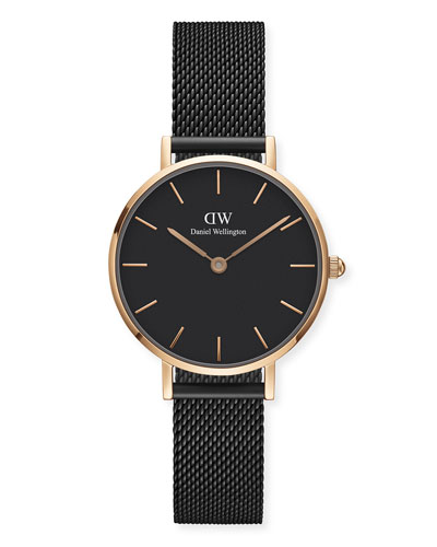 Classic Petite Ashfield Bracelet Watch, Black/Rose-Golden