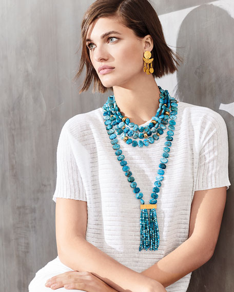 Apatite Double Tassel Pendant Necklace