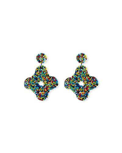Beaded Geometric Drop Earrings, Multi