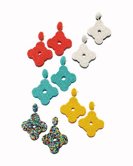 Beaded Geometric Drop Earrings, Turquoise