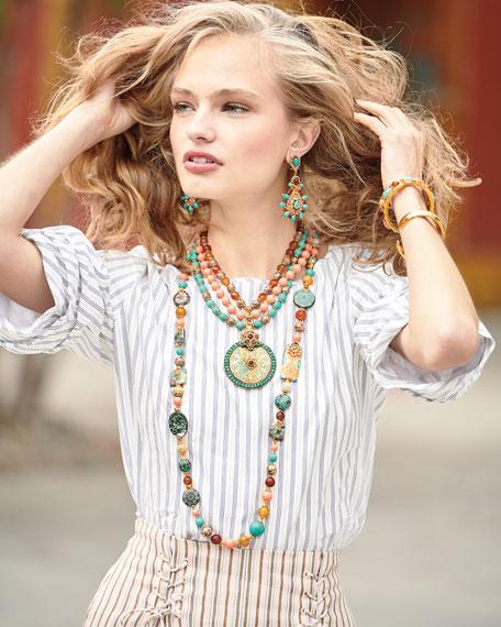 Mixed Cabochon-Studded Open-Frame Bangle Bracelet