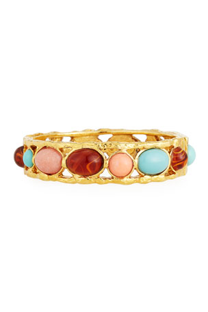 Jose & Maria Barrera Mixed Cabochon-Studded Open-Frame Bangle Bracelet