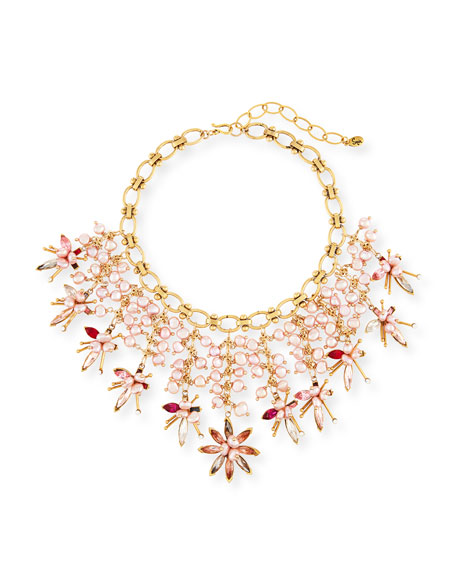 Sequin Pink Pearly Swarovski Crystal Statement Necklace BeeZMv