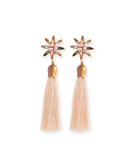 Sequin Floral Crystal Tassel Earrings