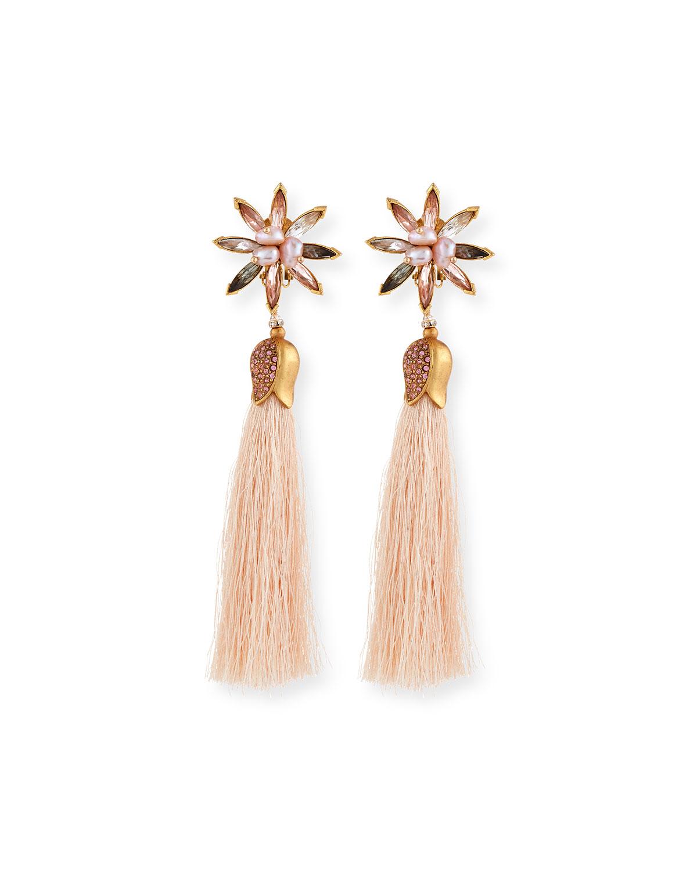 d519372bf Sequin Floral Crystal Tassel Earrings | Neiman Marcus