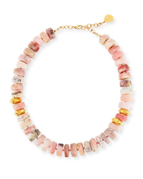 Devon Leigh Short Pink Opal Nugget Beaded Necklace