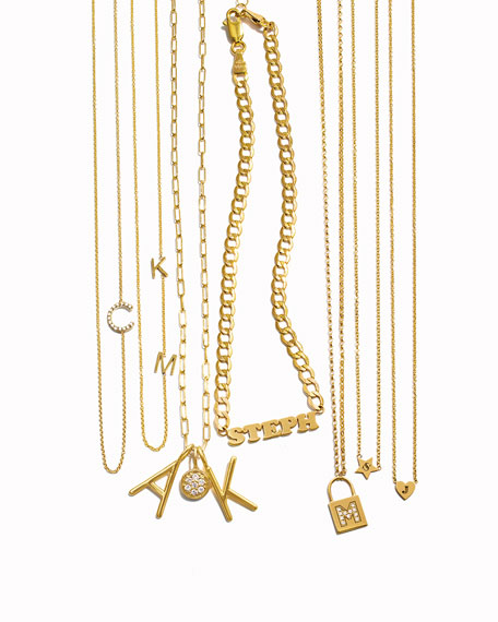 14K Padlock Initial Pendant Necklace with Diamonds
