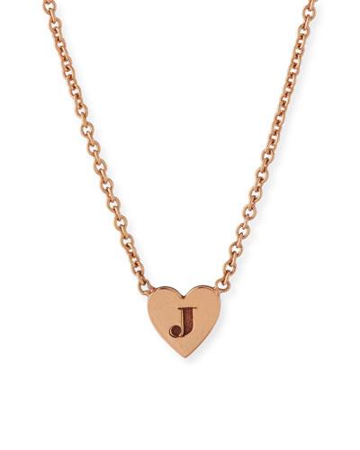 14K Tiny Heart Initial Pendant Necklace