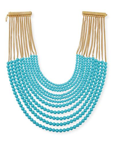 Raissa Multi-Strand Beaded Necklace, Turquoise