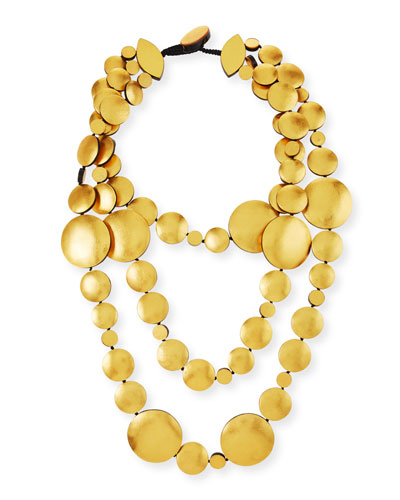 Triple-Strand Golden Foil Disc Necklace