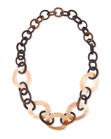 Mixed Mother-of-Pearl & Wood Link Necklace