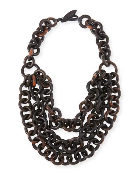 Triple-Strand Tiger Wood-Link Necklace