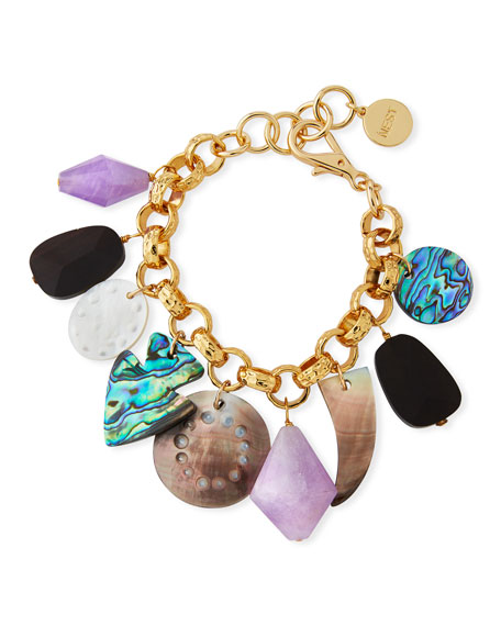 NEST JEWELRY MOTHER-OF-PEARL & AMETHYST CHARM BRACELET