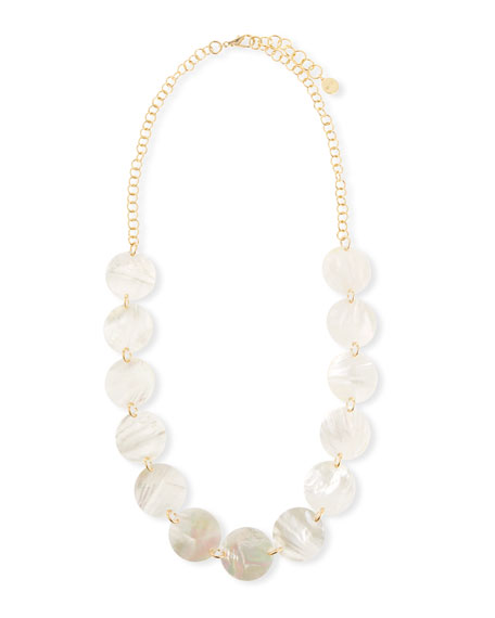 "Mother-of-Pearl Disc Station Necklace, 40""L"