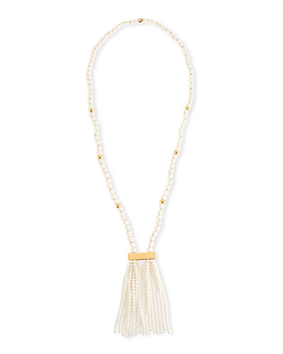 Beaded Bone Tassel Necklace