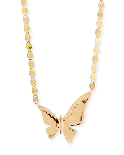 14k Large Butterfly Pendant Necklace