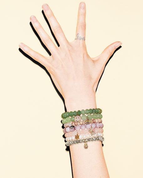 Round Kunzite Beaded Bracelet with Diamond Butterfly Charm