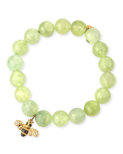 Faceted Prehnite Beaded Bracelet with Diamond Bee Charm