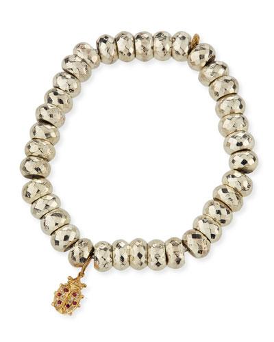 Faceted Pyrite Beaded Bracelet with Ladybug Charm