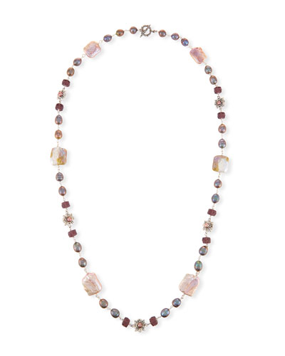 Beaded Station Necklace, Pink/Purple, 37.5