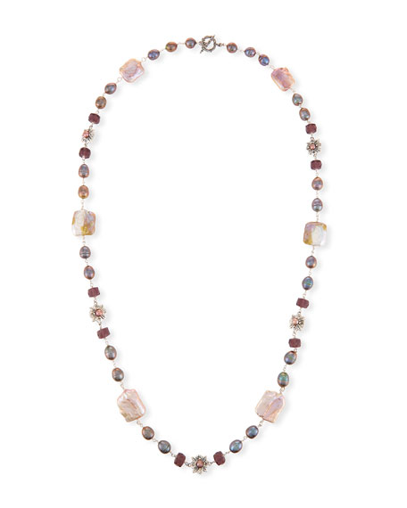 "Beaded Station Necklace, Pink/Purple, 37.5""L"