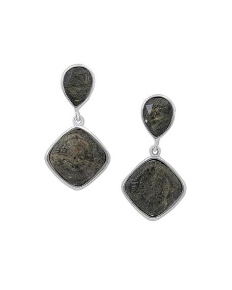 Rutilated Quartz & Hematite Doublet Drop Earrings