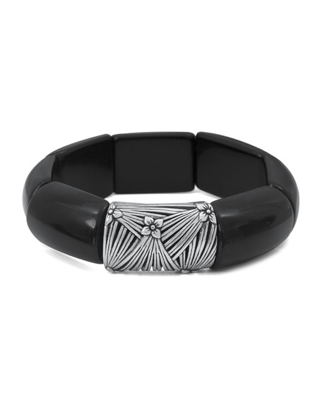 Stephen Dweck Black Agate Beaded Bracelet