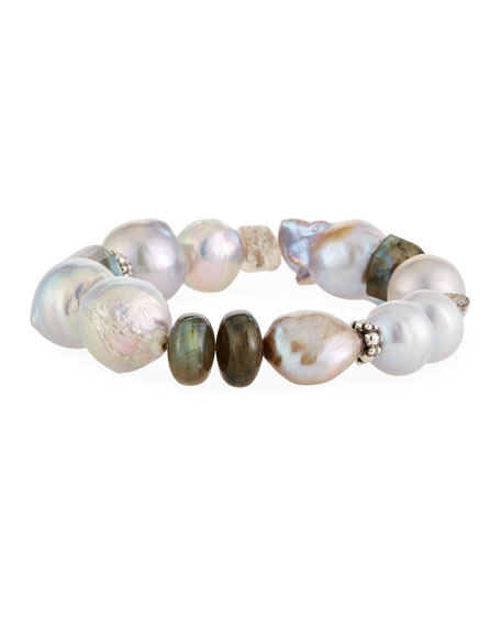 Stephen Dweck Baroque Pearl, Labradorite & Quartz Stretch