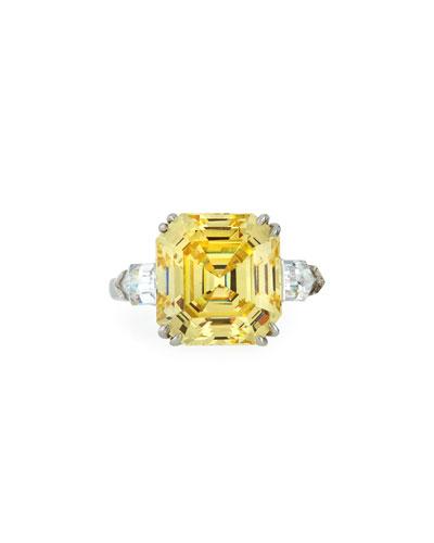 Asscher-Cut Yellow CZ Ring