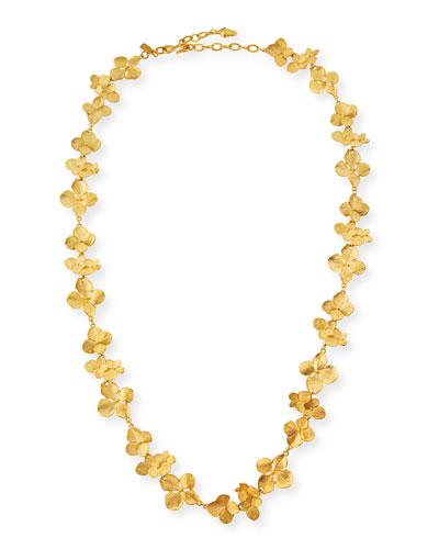 Satin Floral Station Necklace