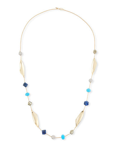 Chrysocolla, Lapis & Turquoise Station Necklace