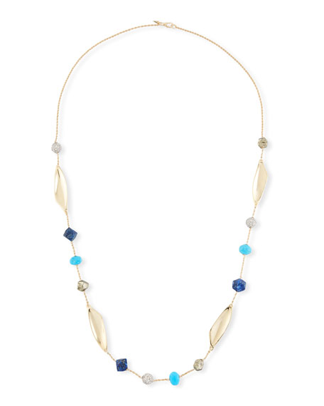 Chrysocolla, Lapis & Turquoise Station Necklace, 45""
