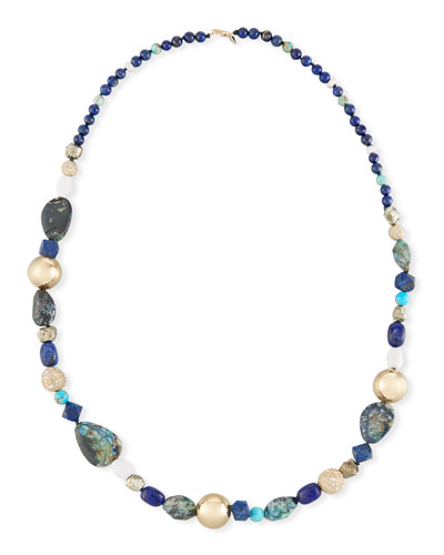 Chrysocolla, Lapis & Turquoise Beaded Necklace