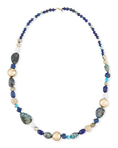 Chrysocolla, Lapis & Turquoise Beaded Necklace, 43