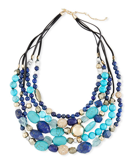 Alexis Bittar Lapis, Chrysocolla & Pyrite Beaded Necklace