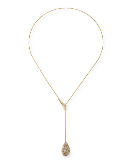 Pave Shard Crystal Teardrop Lariat Necklace