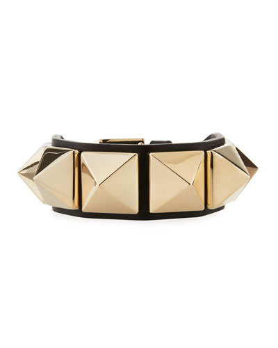 Rockstud Leather Cuff Bracelet, Black