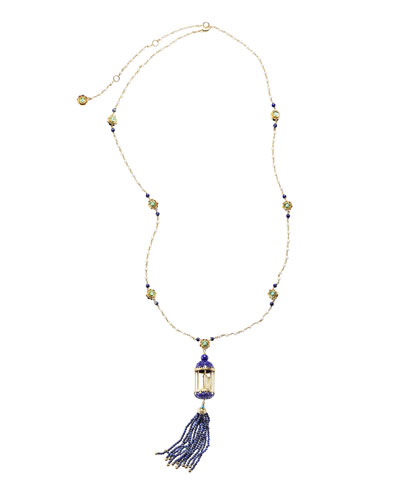 Aviary Tassel Necklace  with Lapis