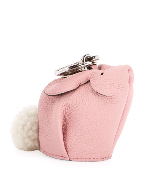 Bunny Bag Charm With Genuine Shearling - Black