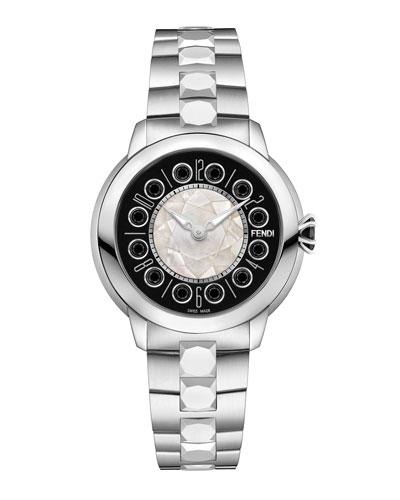 38mm IShine Stainless Steel Bracelet Watch w/Black Spinel