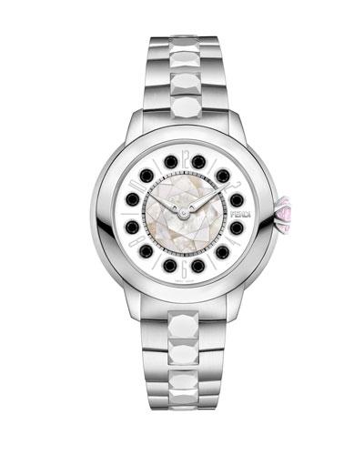 33mm IShine Stainless Steel Bracelet Watch w/Pink Topaz & Black Spinel