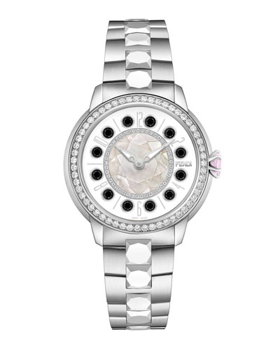 38mm IShine Stainless Steel Bracelet Watch w/Pink Topaz, Black Spinel & Diamonds