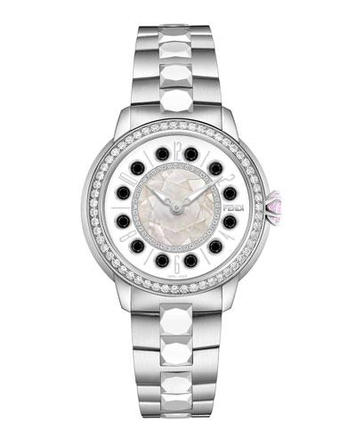 38mm IShine Stainless Steel Bracelet Watch w/Pink Topaz, Black Spinel & Diamonds