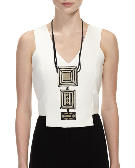 Tricolor Pendant Necklace with Leather Straps